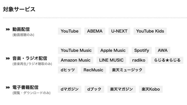 BIGLOBEモバイルのエンタメフリーオプション対象はYouTube/AbemaTV/radiko.jp/Google Play Music/Apple Music/Spotify/AWA/Amazon Music/U-Next/YouTube Kidsです