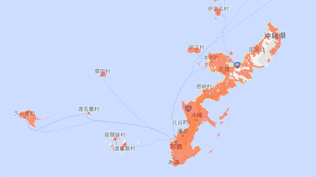 UQモバイル沖縄の電波状況・通信エリア