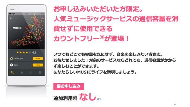 OCN光モバイルONEのMUSICカウントフリー
